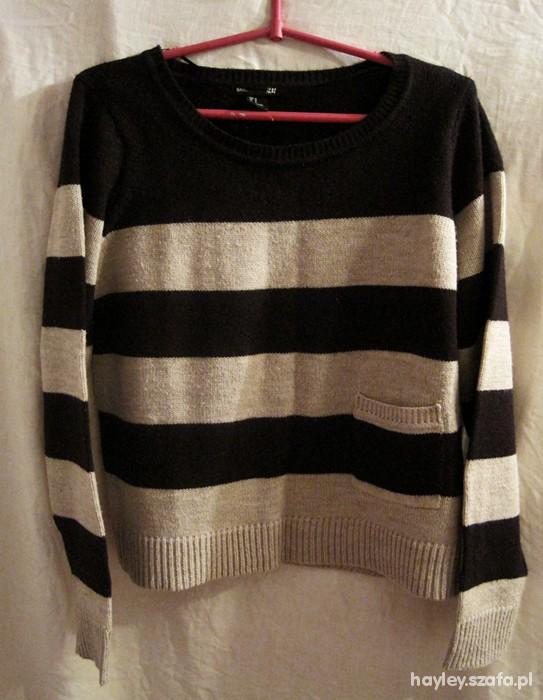 sweter w paski H&M gruby kieszonka S M