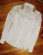 ATMO biała koszula kołnierz ćwieki taliowana 42