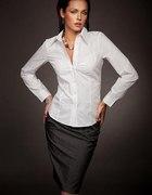 Biała klasyczna dopasowana koszulowa bluzka