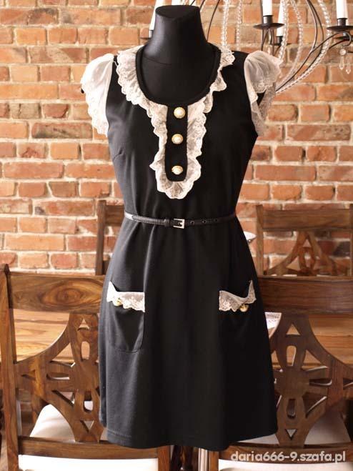Retro Vintage Koronkowa sukienka L