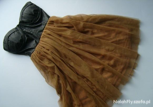 Sukienka gorset skóra tiul