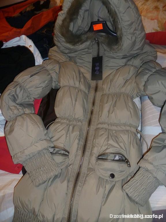 kurtka płaszczyk pikowana zara basic taliowana w Odzież