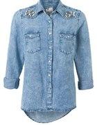 Koszula jeans zdobiona biżuterią New look...