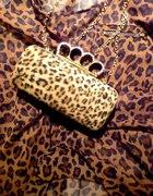 New Look torebka z kastetem gold na palce leopard...