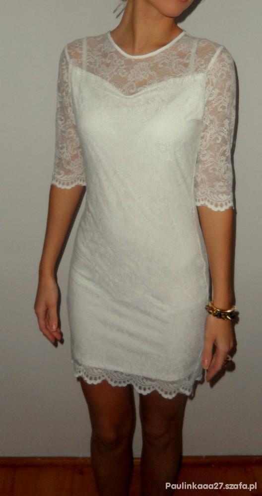 e4777c814d sukienka koronkowa biała krótka w Suknie i sukienki - Szafa.pl