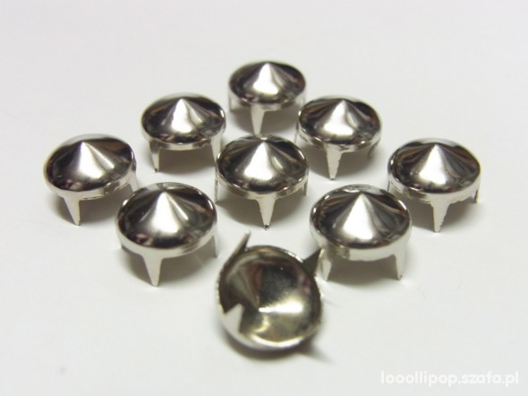 Pozostałe ćwieki stozek okragłe 10 mm srebrne