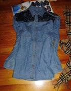 Jeansowa koszula koronka M