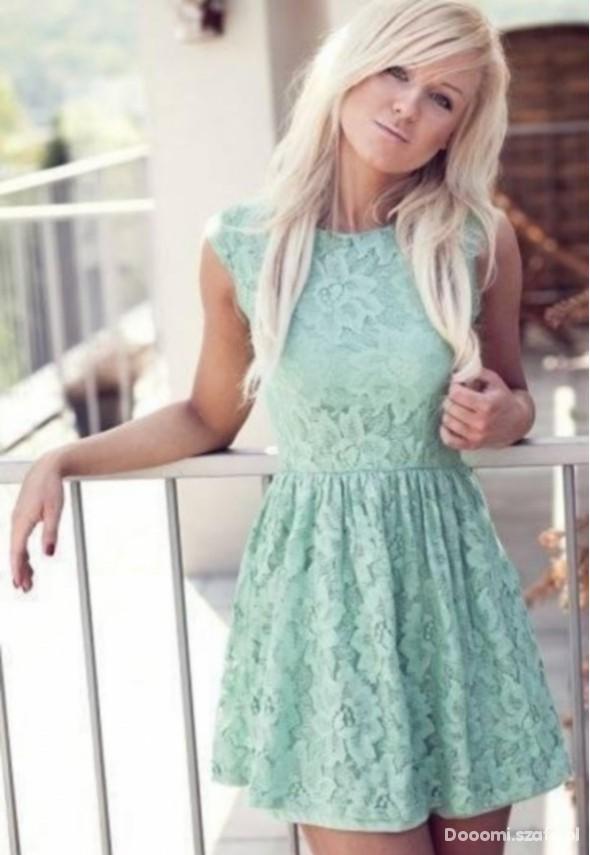 167efd2d29 Koronkowa miętowa sukienka PullBear S w Suknie i sukienki - Szafa.pl