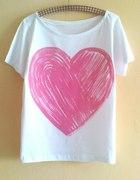 biały off shoulder OVERSIZE różowe mega serce XL