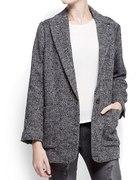 Szaro czarny płaszcz w jodełkę MANGO answear