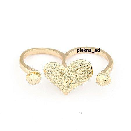 Pierścionek podwójny serce złote
