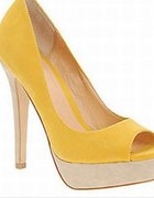 Żółte szpilki peep toe na platformie