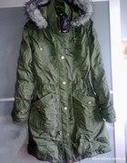 NOWA zielona zimowa parka kurtka jak H&M ZARA 38 M