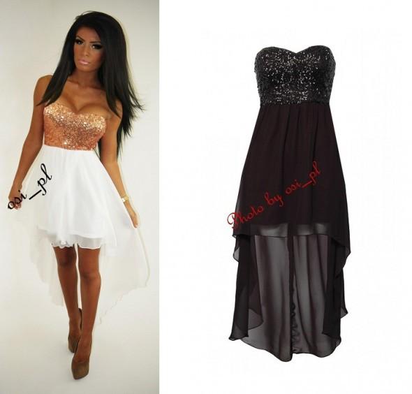 Suknie i sukienki Czarna szyfon cekiny asymetryczna