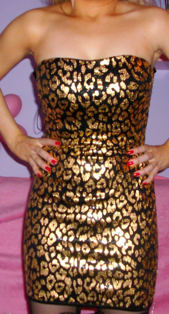 Suknie i sukienki ZŁOTA SUKIENKA CEKINY PANTERKA