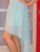 sukienka miętowa asymetryczna