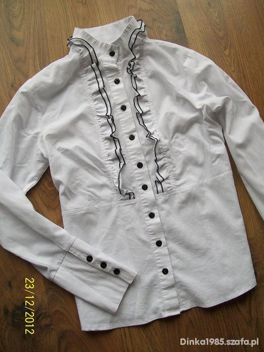 Koszule Bluzka koszula żabot taliowana guziki