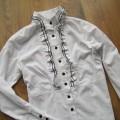 Bluzka koszula żabot taliowana guziki