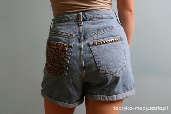 szorty jeansowe wysoki stan ćwieki panterka 38 M