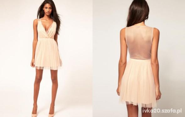 ad06e18556 ASOS koronkowa sukienka wesele pudrowy roz plecy w Suknie i sukienki ...