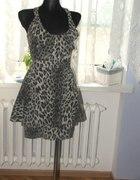 Leopard print peplum jeans dress