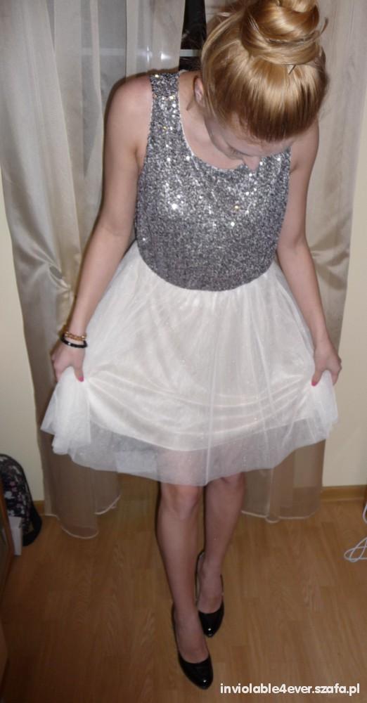 Wieczorowe Bajkowa sukienka rozkloszowana cekiny H&M
