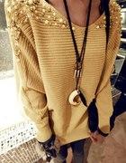 Beżowy sweter perełki HIT BLOGEREK