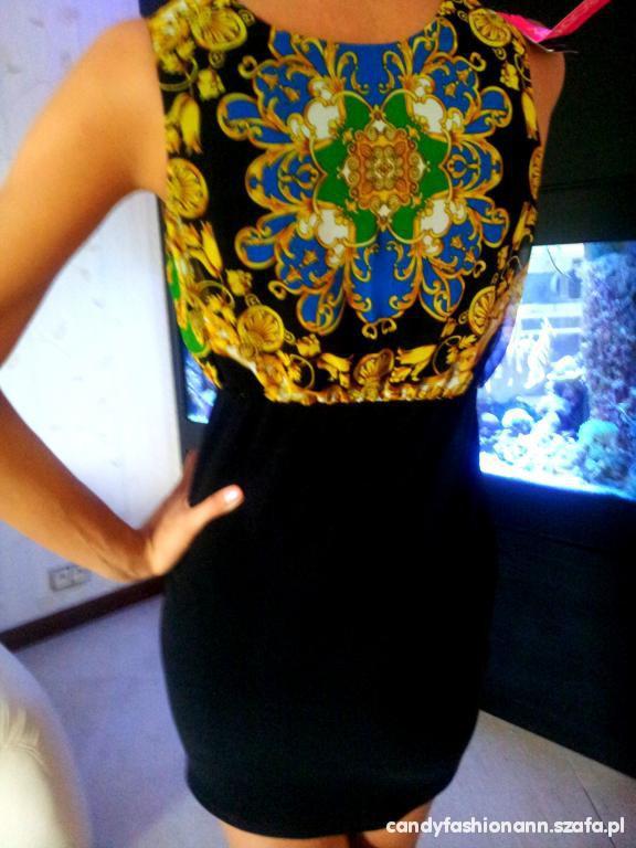 sukienka w azteckie wzory TANIO WYPRZEDAZ modna