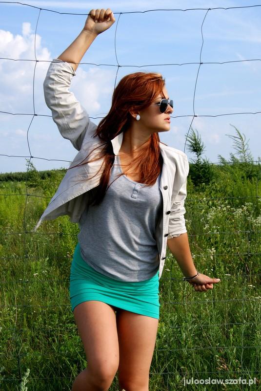 Mój styl Miętowa spódniczka