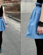 niebieska spódnica spódniczka wysoki stan