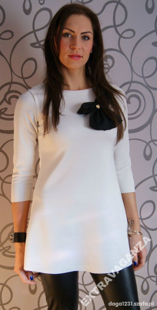Sukienka tunika trapezowa kokarda La Mania