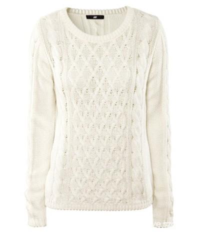 Biały ciepły sweter warkocze H&M...