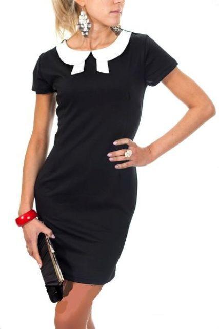 1f85b8d9351123 Suknie i sukienki 38 M Włoska SUKIENKA KOŁNIERZYK pensjonarka BLACK