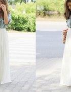 biała spódnica maxi plisowana