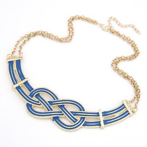 Naszyjniki Naszyjnik unikatowy splot egipski złoto niebieski