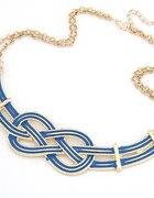 Naszyjnik unikatowy splot egipski złoto niebieski...