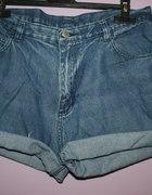 jeansowe spodenki Z WYSOKIM STANEM vintage L