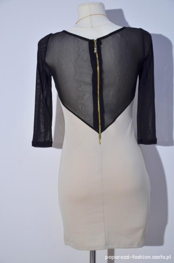 Studniówkowa sukienka ze złotym zamkiem na plecach