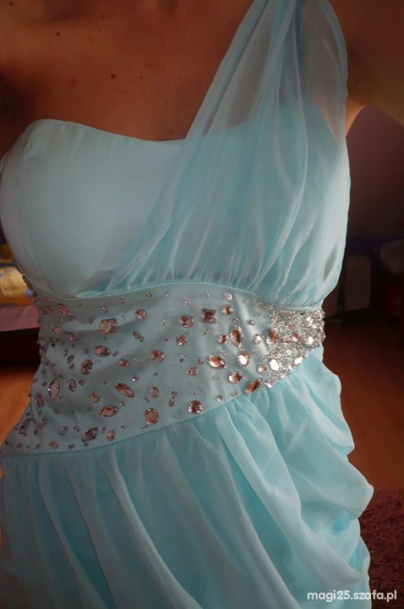 Suknie i sukienki miętowa sukienka kamienie