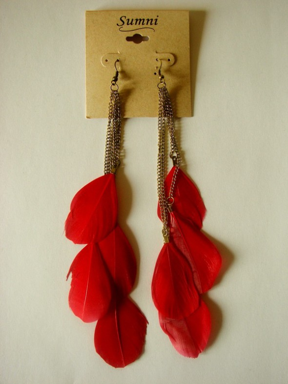 Kolczyki Piórka Czerwone