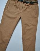 Beżowe Spodnie Z Mankietem