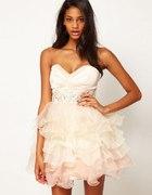 ASOS Lipsy VIP Prom Dress NUDE Baletnica Falbanki