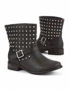 Black Studded Biker Ankle Boots...