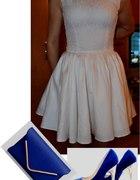 Zestaw z białą sukienką rozkloszowaną...