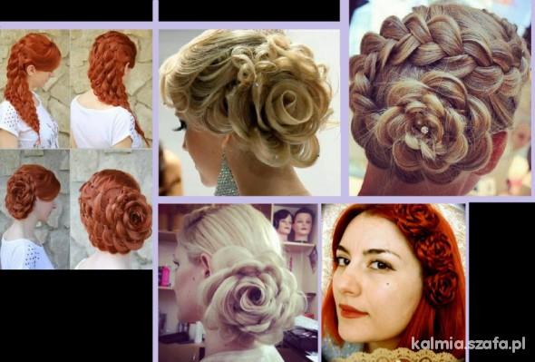 włosy kok róża róże warkocz rude ombre