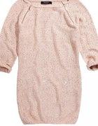 Reserved Sweter z Cekinami Zamki Pudrowy