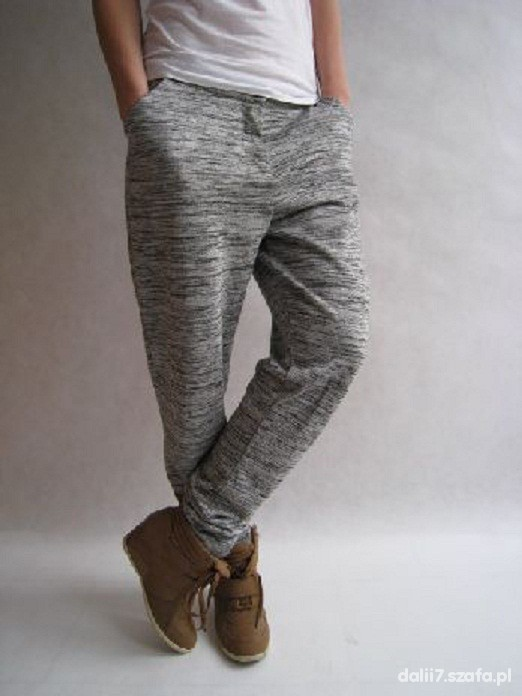 VILA spodnie szare dresowe melanż...