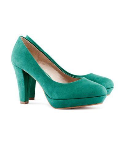 H&M turkusowe zielone szmaragdowe czółenka zamsz