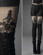 Punk Rave legginsy skora koronka gothic barok