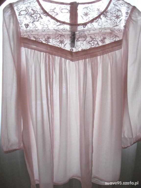 Bluzki Szyfonowa bluzka pudrowy róż H&M 34
